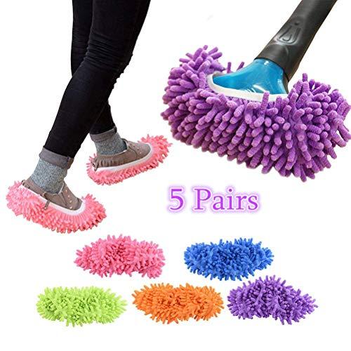 YierM Sweeping Mop Slippers, Multi-Function Lazy Dusting Mop Slippers Cleaning Floor,5 Pairs Microfiber Foot Socks Floor Dust Dirt Hair Cleaner (Free Size) ()