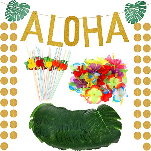 189 Pieces Hawaii Tropical Luau Theme Party Decoration Set Includes Gold Glitter Aloha Banner Colorful 3D Fruit Straws Tropical Palm Simulation Leaves Artificial Hibiscus Luau - Colorful Flowers Tropical