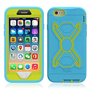 Pepkoo Case for Apple iPhone 6 6S Plus 5.5'', Cover for Apple iPhone 6 6S Plus 5.5'', Hot Newest Apple iPhone 6 6S Plus 5.5'' Case Silicone Plastic Kid Proof Extreme Duty Dual Protective Back Cover with Kickstand and Sticker for Apple iPhone 6 6S Plus 5.5'' - Rainproof Sandproof Dust-proof Shockproof (Apple iPhone 6 6S Plus 5.5'', Blue + Green), [Importado de UK]