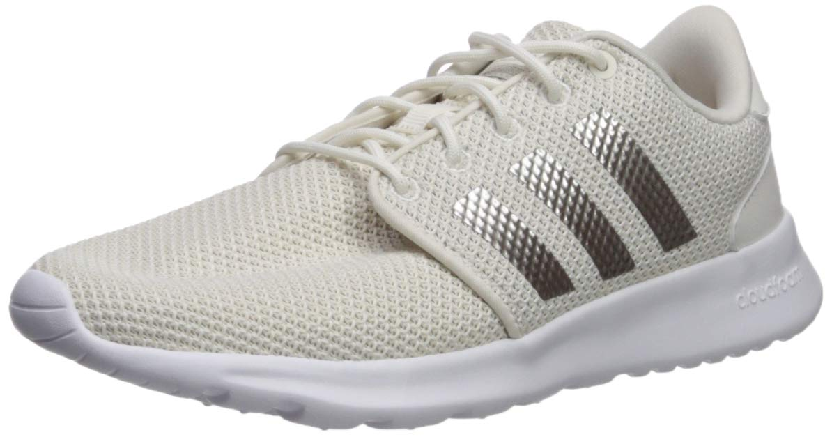 adidas Women's Cloudfoam QT Racer Running Shoe Track and Field, Cloud Platino met./ raw White, 6 Standard US Width US by adidas