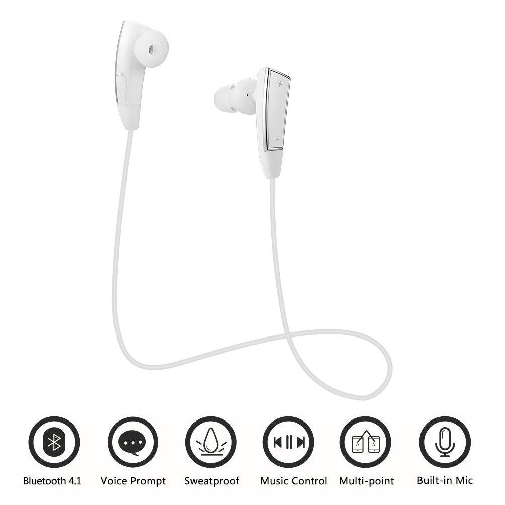 SCS ETC Magnetic Wireless Earphones Slim and Splashproof Bluetooth 4.1 Headphone for Running Jogging Biking (White)