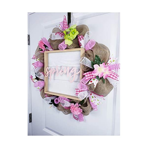Pink and White Flower Wreath, Spring Wreath for Front Door, Burlap Deco Mesh, May Flowers, Home Decor, Pink and Green Wreath