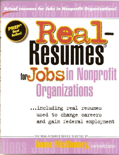 Shop online Real-Resumes for Jobs Nonprofit Organizations (Real-Resumes Series)