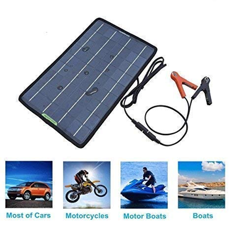 Cool Solar 18V 12V 10w Portable Solar Panel Battery Charger Maintainer Bundle with Cigarette Lighter Plug, Alligator Clips for Automobile Motorcycle Tractor Boat RV Batteries (Canvas)