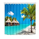 LB Ocean Beach Shower Curtain 72x72 inch Island Tropical Coconut Palm Tree Bathroom Curtains Decor Accessories with Hooks,Polyester Fabric Waterproof,Blue Green