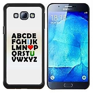 LECELL--Funda protectora / Cubierta / Piel For Samsung Galaxy A8 A8000 -- Alfabeto Abc I Love U You Valentines texto Impresiones --