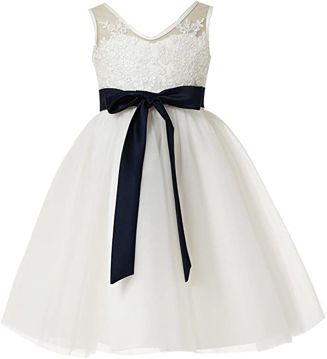 f97ea10344 princhar Girl s Lace Tutu Flower Girl Dress Girls Junior Bridesmaid Dresses  US 2T Ivory
