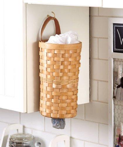 Natural Basket Grocery Plastic Trash Bag Wall Hanging Dispenser Kitchen Organizing Decor