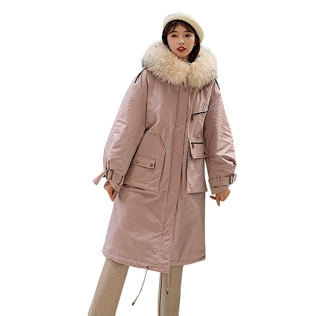 Yanvan Women's Winter Mid Length Coats Fashion Outerwear Long Sleeve Hooded Jackets Cotton-Padded Pockets Coats by Yanvan