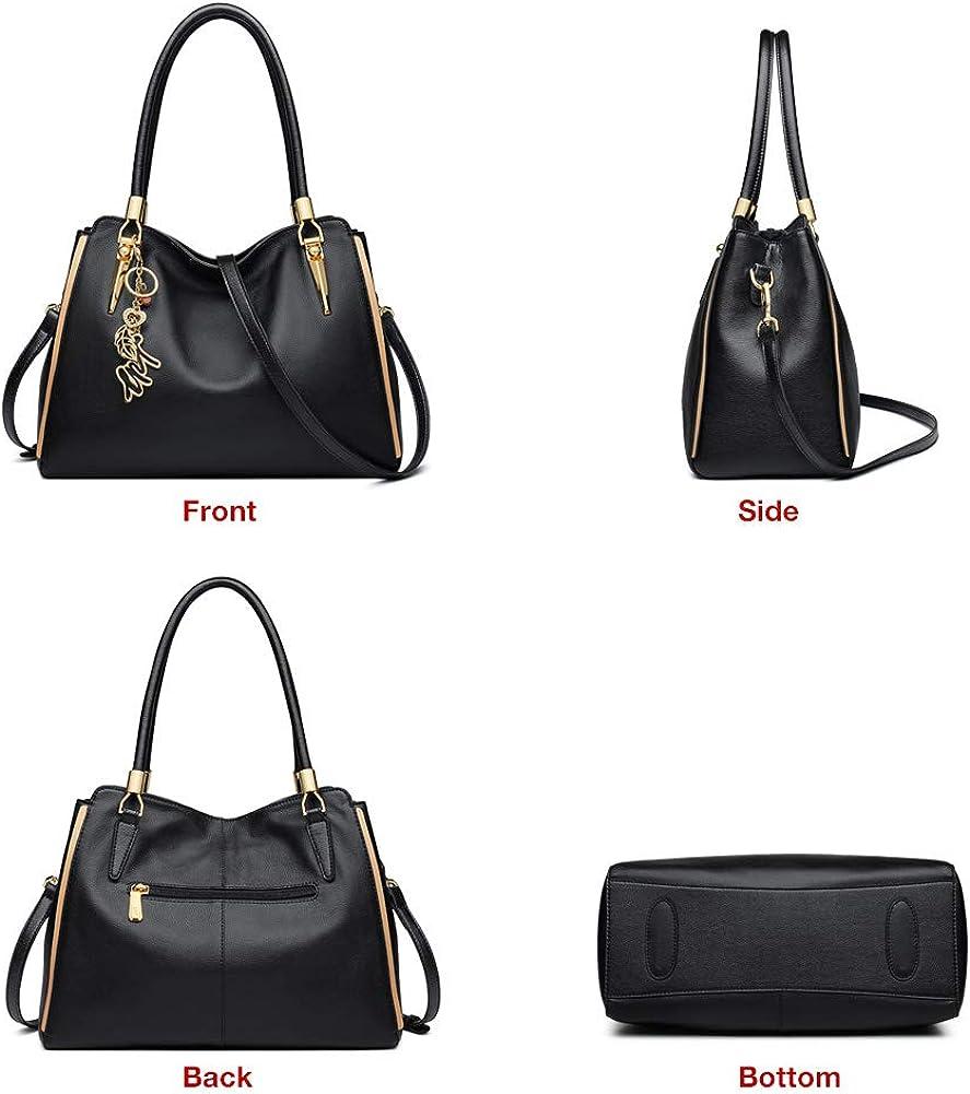 LAORENTOU Women Roomy Genuine Leather Tote Classy Handbags Shoulder Bag