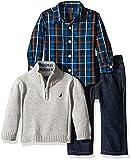 Nautica Three Piece Set with Woven, Quarter Zip Sweater, Denim Jean, Grey Heather, 12 Months