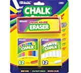 Bazic 12 Color and 12 White Chalks with Eraser Sets (Case of 24)