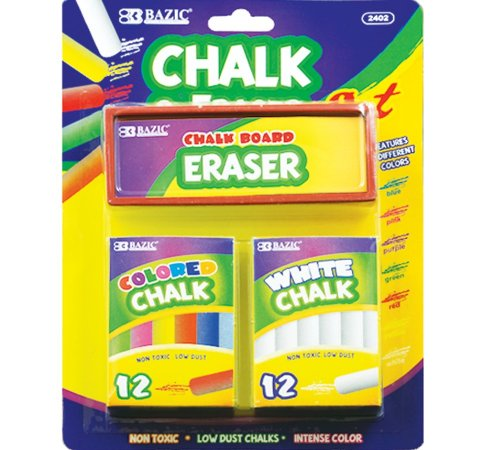 Bazic 12 Color and 12 White Chalks with Eraser Sets (Case of 24) by Bazic