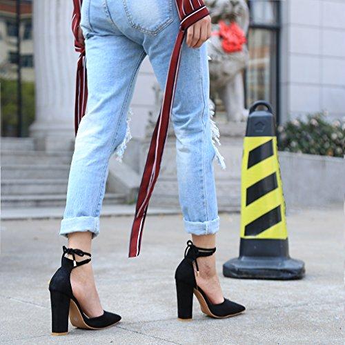 Talons Noir Peu Épais Nœud Hauts Eté Chaussures Cheville À Profondes Hengsong Sandales Suède Bouche Femme q4p6P4wI