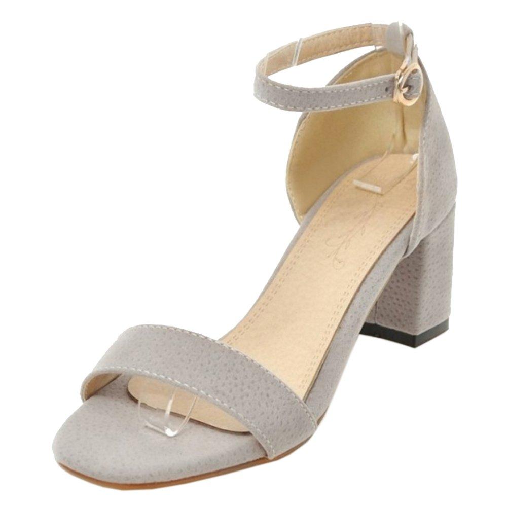 TAOFFEN Femmes Bride Cheville Sandales Bout Ouvert Bride Cheville Sandales Ete Chaussures Gray bcd7af4 - fast-weightloss-diet.space