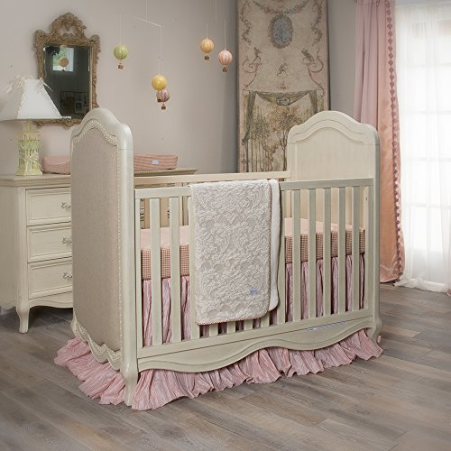 Crib Jean Skirt Cotton Glenna (Crib Bedding Maddie Set by Glenna Jean | Baby Girl Nursery + Hand Crafted with Premium Quality Fabrics | Includes Quilt, Sheet and Bed Skirt with Pink and Ivory Accents)