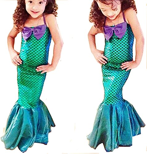 [Kids Girls Little Mermaid Cosplay Set Princess Dress Party Halloween Costume] (The Little Mermaid Costume)