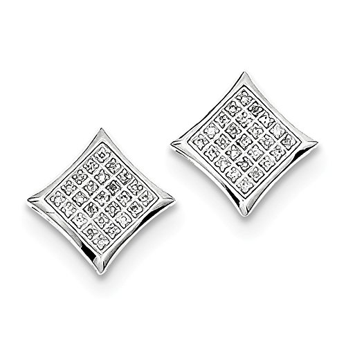 Sterling Silver Diamond Square Shaped Screwback Post Earrings by CoutureJewelers