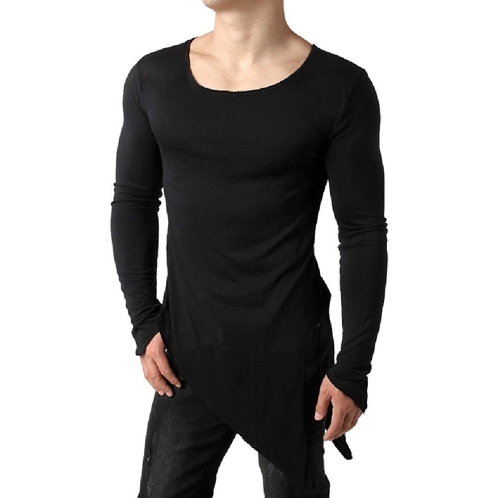Coolred-Men Casual Solid Colored Irregular Long Sleeve Blouse T-Shirt Tops