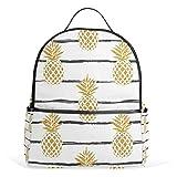 JSTEL Summer Gold Pineapple School Backpack 2th 3th 4th Grade for Boys Teen Girls Kids