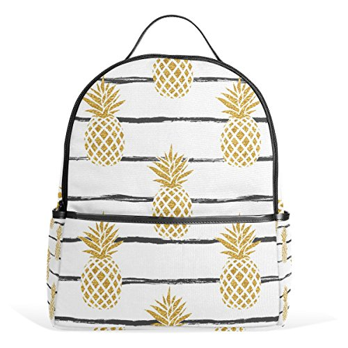 JSTEL Summer Gold Pineapple School Backpack 2th 3th 4th Grade for Boys Teen Girls Kids by JSTEL