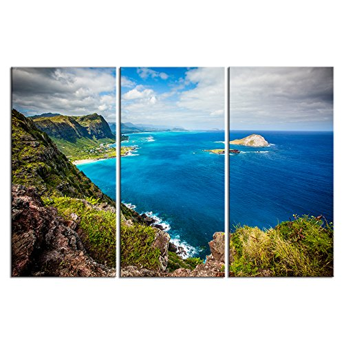 LevvArts Scenery Canvas Wall Art,Amazing Sea Landscape of Hawaii Pictures, Stretched and Framed Ready Hang,Modern Living Room Bedroom Home Decor-16x32inchx3pcs by LevvArts