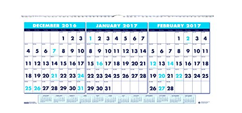 "House of Doolittle 2017 Wall Calendar, Three-Month Horizontal, 23.5"" x 12"" (HOD3648-17)"