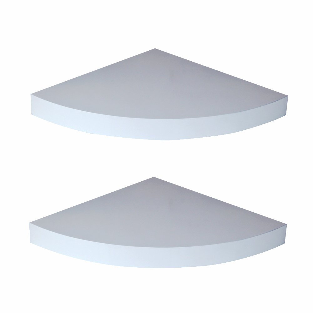 (White) - LOYOKI Corner Shelf, Wall Mounted Floating Shelves, Retro Storage Display Shelf Set of 2 (White) B06XW5TMM7  ホワイト