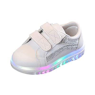 FshingingChildren Kid Baby Girls Boys Striped Bling Flat Led Luminous Sport Sneaker Shoes: Clothing