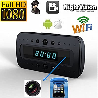 Smart Tech Store HD1080P WiFi Night Vision IP SPY CAMERA DVR IN ALARM CLOCK Remote View Real-time Video By Wifi Mobile Phones, Computer, Android IOS APP