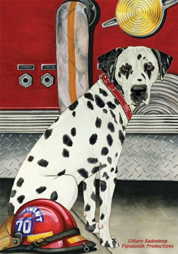 field tree Dalmatian and Fire Truck Garden Flag 12 Inch X 18 Inch