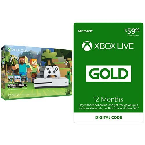 Xbox One S 500GB Console – Minecraft + Xbox Live 12 Month Gold Membership Bundle