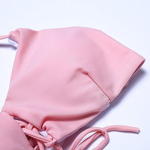 KUWOMINI.Woman Señoras De La Manera De La Playa Del Bikini De Cintura Baja Traje De Baño Bikini Pink