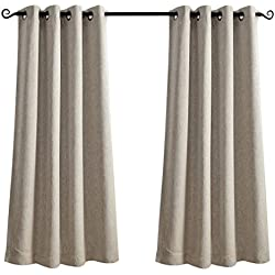 "MYSKY HOME Black out Curtain Panel for Bedroom by Linen Look Thermal Insulated Room Darkening Grommet Drapes (Natural, 52"" W x 63"" L, Single Panel)"