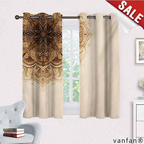 (Pattern DIY Available Curtain,Henna,Vintage Hand Drawn Style Mandala Artwork Corner Ornament Ottoman Culture Art Elements,with Solid Grommet Top,Tan Brown,W72 Xl63)