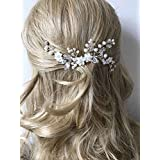 Unicra Wedding Floral Hair Combs Wedding Bridal Hair Accessories for Brides and Bridesmaids (Silver)