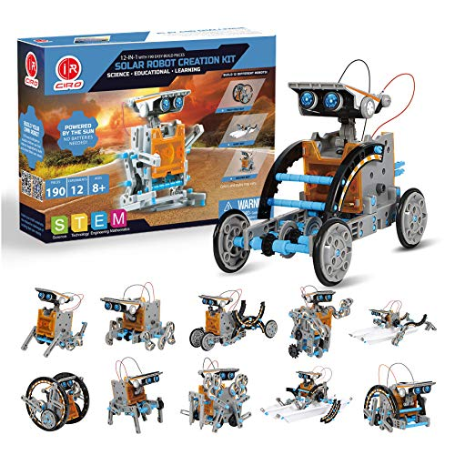 CIRO 12-in-1 Solar Robot Toys, STEM Education Activities Kits for Kids 8-12, 190 Pieces Building Sets
