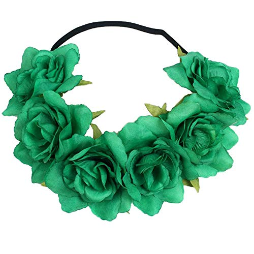 July 4th Headband, Floral Flower Crown Stretch Headband Elastic Hair Band Costumes for Women Girls Men Boys]()