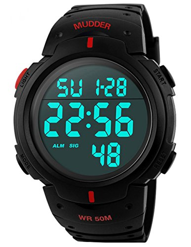 Mudder 5ATM Wasserdichte Sport Armbanduhr Digital Quarz Rot