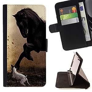 Momo Phone Case / Flip Funda de Cuero Case Cover - Pegasus Jack Russell Pintura Caballo Mustang - Sony Xperia Z5 5.2 Inch (Not for Z5 Premium 5.5 Inch)