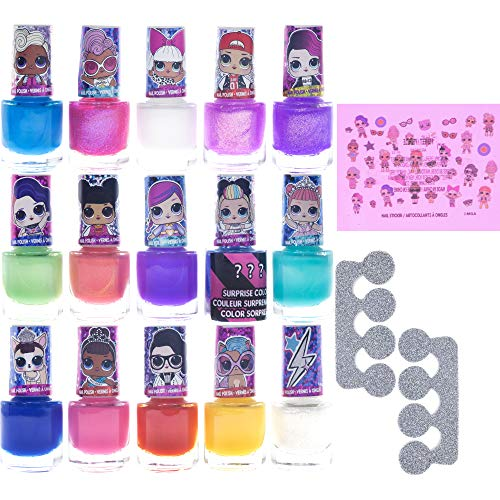 Townley Girl L.O.L. Surprise! Non-Toxic Peel-Off Nail Polish Set for Girls, Glittery and Opaque Colors, with Toe Spacers and Nail Stickers, Ages 5+ (15 Pack), for Parties, Sleepovers and Makeovers