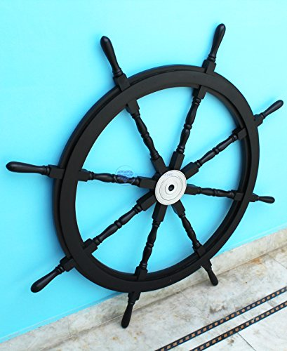 "36"" Premium Black Sailor's Ship Wheel With Aluminum Polished Hub 