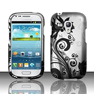 Black Orchid Vines on Silver Design Case + Atom LED Keychain Light for Samsung Galaxy S3 Mini I8190 / I8190N / I8190T