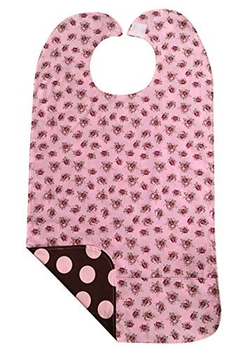 Ditsy Rose Pink-Large Dots Adult Bib with Pockets - Reversible