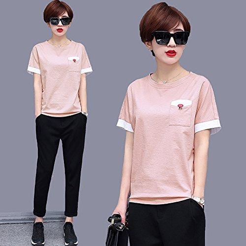 T a tinta unita T shirt MOMO da taschino corte a maniche estiva sottile allentata shirt shirt Rosa t wqgC6XC