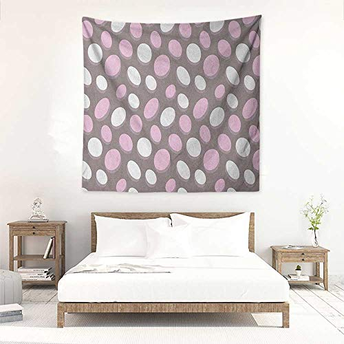 Geometric Wall Tapestry for Bedroom Retro Oval Pattern Circles Abstract Pale Vintage Elliptical Design Wall Hanging Carpet Throw 70W x 70L INCH Warm Taupe Pink Cream