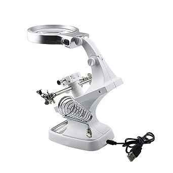 blanco herramienta electr/ónica color blanco Lupa LED multifuncional para soldar