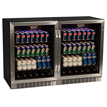 EdgeStar CBR1501SGDUAL 47 Inch Wide 296 Can Built-In Beverage Cooler with Tinted