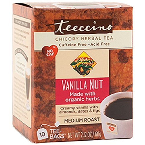 Photo of Teeccino Dandelion Vanilla Nut Caffeine Free Herbal Coffee 10 Count Tee-Bags