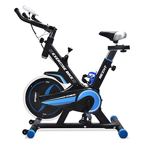 NexHT Fitness Exercise Cycle Bike (89103A) Indoor Workout Cycling Bike w/LCD Monitor& Heart Pulse Sensors,Max User Weight:280lbs,Full Adjustable Health Sport Trainer Stationary Bicycle -Blue